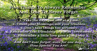 Five Things to Always Remember